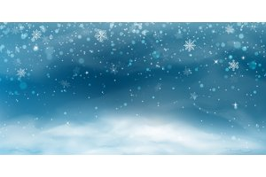Snow background. Winter christmas landscape with cold sky, blizzard