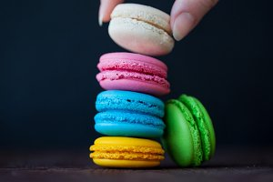 Colorful macaroons tower close-up on