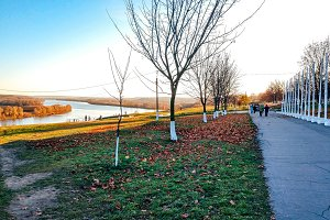 The embankment in autumn with trees a road, in the distance the river, fallen leaves on the ground, a bright sunny afternoon in the city.