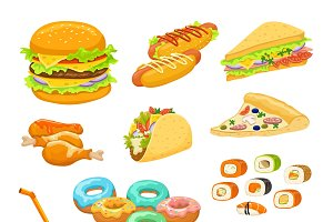 Fast Food Colorful Objects Set