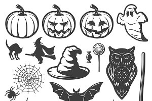Halloween Monochrome Elements Set