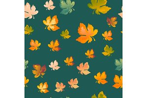 Autumn leaves seamless pattern, vector background. Red, yellow and green maple leaf, For the design of wallpaper, fabric, decoration material