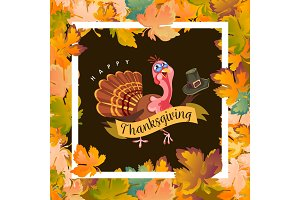 Cartoon thanksgiving turkey character holding hat, autumn holiday bird vector illustration happy greeting text on flyer or card on background