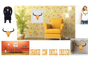 Orange cow's head skull design