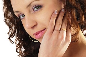 Woman look into her wedding ring