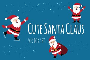 Cute Santa Claus vector set