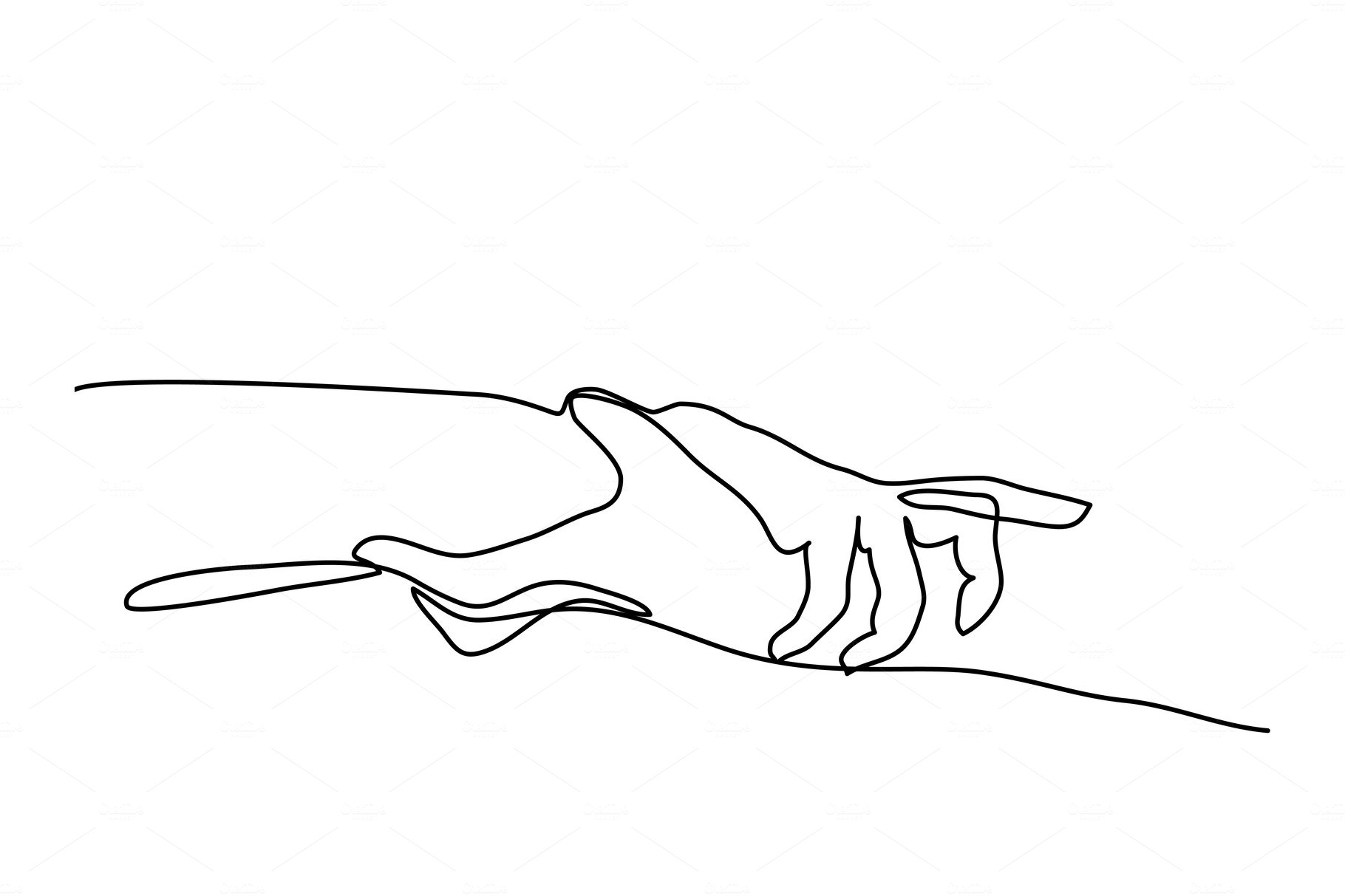 Line Drawing Holding Hands : Continuous line drawing of holding hands together