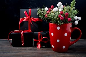 Christmas branches, balls, gift,  Ch