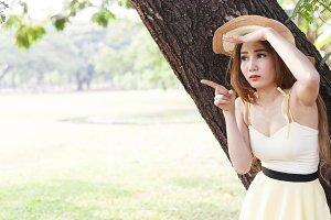 Portrait Asian woman in the park.