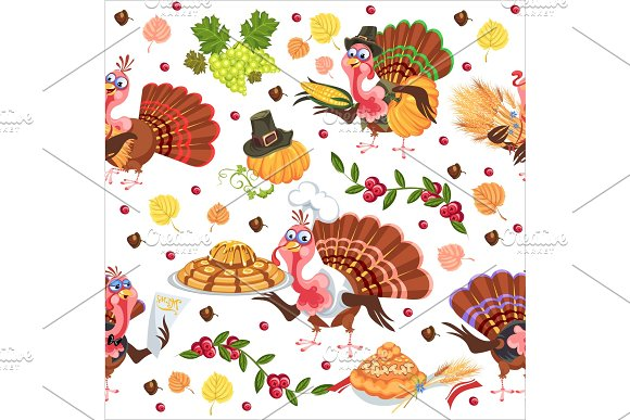 Seamless pattern cartoon thanksgiving turkey character in hat with harvest, leaves, acorns, corn, autumn holiday bird vector illustration background for fabric textile or wrapping in Illustrations
