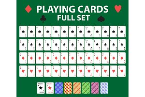 Playing cards full deck for poker, black jack. Collection with a joker and backs. Isolated on a green background. Vector illustration.