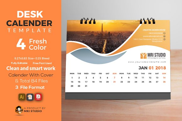 desk calander template 2018 stationery templates creative market