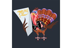 Cartoon thanksgiving turkey character holding menu, autumn holiday bird vector illustration happy greeting text on flyer or card on background