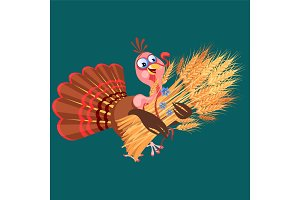 Cartoon thanksgiving turkey character holding spikelets, autumn holiday bird vector illustration happy greeting text on flyer or card on background