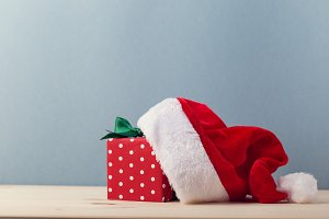 Composed present and Santa hat