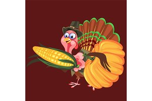 Cartoon thanksgiving turkey character in hat holding harvest, autumn holiday bird vector illustration happy greeting flyer or card on background