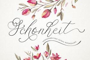 Schönheit font & watercolors.