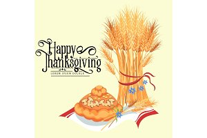 Harvest organic foods like fruit and vegetables, happy thanksgiving dinner background, vector illustration harvesting with stack of wheat ears
