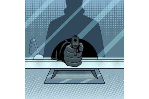 Bank robbery with gun pop art vector illustration