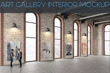 Art Gallery Interior Painting Mockup