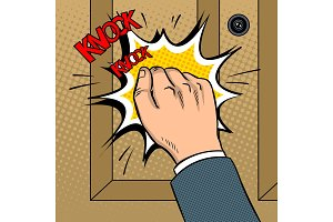 Hand knokning door pop art vector illustration