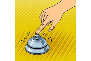 Hand ring bell pop art vector illustration