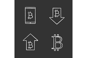 Bitcoin chalk icons set