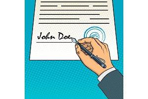 Hand sign document pop art vector illustration