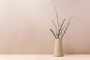 Ceramic vase with decorative branche