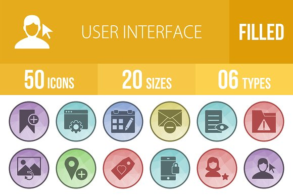 50 Interface Filled Low PoIy Icons