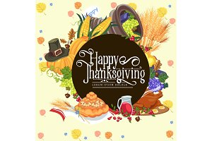 Harvest organic foods like fruit and vegetables, happy thanksgiving dinner card or banner background, harvesting vector illustration
