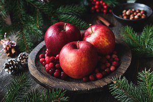 Christmas still life with apples
