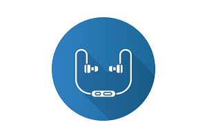 Earphones flat design long shadow glyph icon