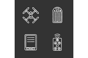 Gadgets chalk icons set