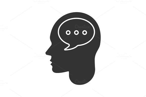 Human head with speech bubble glyph icon