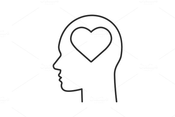 Human head with heart shape inside linear icon