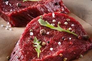 Succulent tender raw lean beef steak