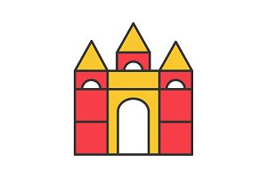 Castle building blocks color icon