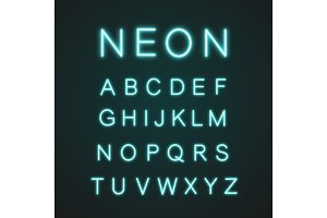 Blue alphabet neon light icons set