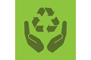 Open palms with recycling sign glyph color icon