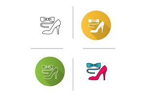 Bow tie and high heel shoe icon