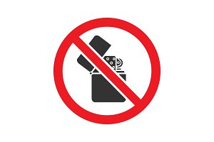 Forbidden sign with flip lighter glyph icon