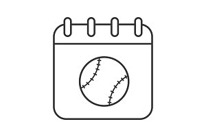 Baseball tournament date linear icon