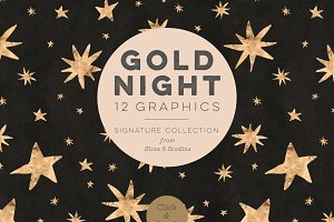 Gold Nights Hand Drawn Stars