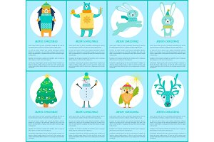 Merry Christmas Set of Posters with Happy Animals