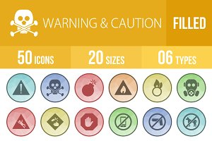 50 Warning Filled Low Poly Icons