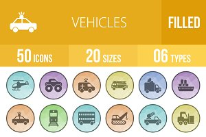 50 Vehicles Filled Low Poly Icons