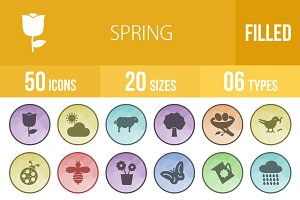 50 Spring Filled Low Poly Icons