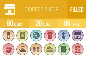 50 Coffee Shop Filled Low Poly Icons