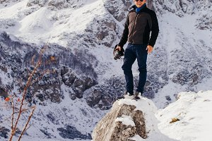 man travel in winter mountains
